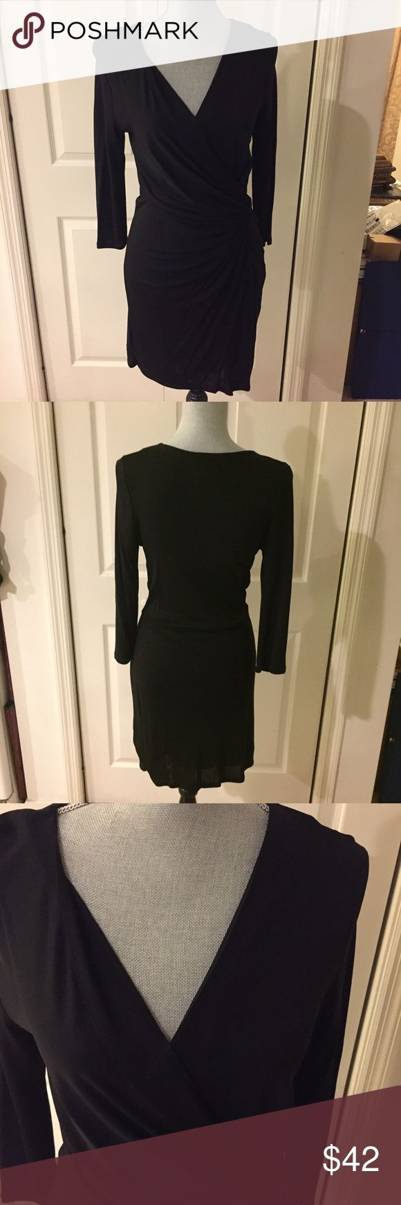 WHBM - Long Sleeve Dress - Faux Wrap ~ Medium -NWT White House Black Market Long Sleeve Faux Wrap Dress  Size: Medium  Body 100% Rayon Lining 95% Polyester 5% Spandex  Measurements: Laying Flat Armpit to armpit is 15in. (and stretches to 18in) Length is 40in  Retails for $98  New With Tags  With a waist defining wrapped bodice and angular tucks, this  dress shapes for a sleek look. Designed  print with a faux wrapped skirt. White House Black Market Dresses Midi