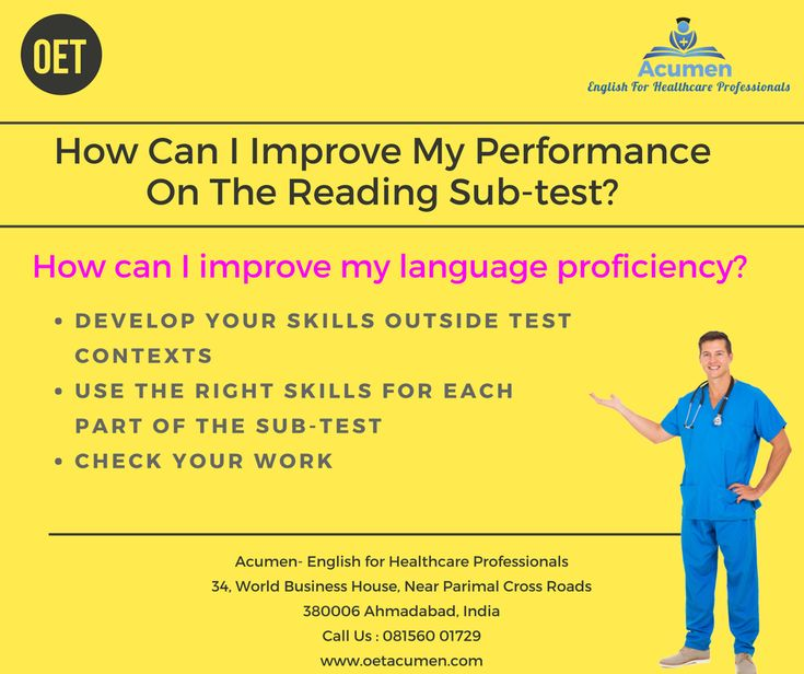 How can I improve my performance on the Reading sub-test?  How can I improve my language proficiency in #OET?   #Enroll today at our #Baroda and #Ahmedabad Branch Help Line No. 081560 01729
