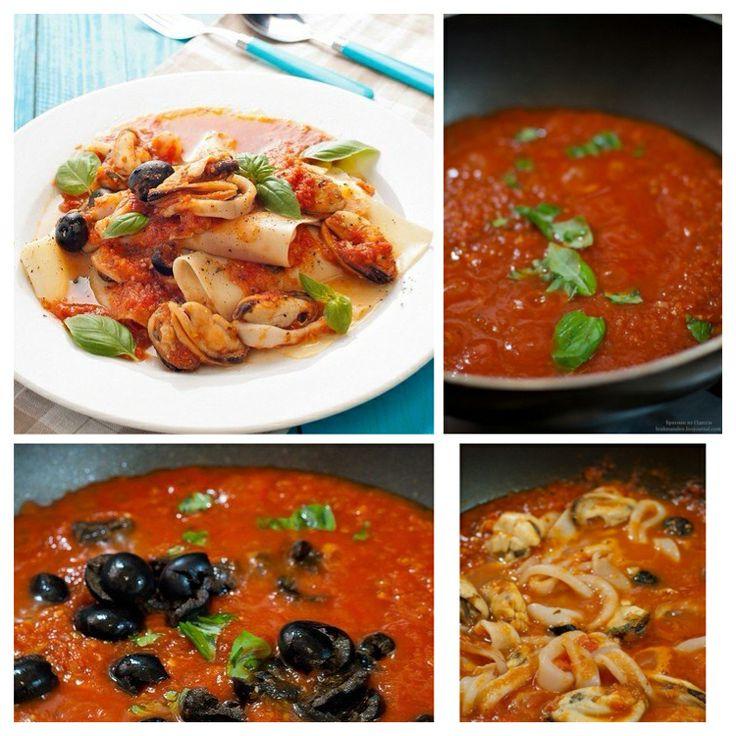 Открытая лазанья с мидиями, кальмарами,оливками и сладким томатным соусом  На все про все понадобится следующее: На соус: 5-6 помидор или 1 банка томатов в собственном соку - 1 луковица -2 зубка чеснока -1 сладкий перец -1 морковь -1маленький пеперончино или немного другого острого перца -орегано\базилик\тимьян -соль\сахар  На собственно саму пасту: - листы лазаньи 5-7 штук - мидии -кальмары -темные оливки -базилик  Приготовление: С соусом все просто. Помидоры очистить, лук,чеснок,морковь…