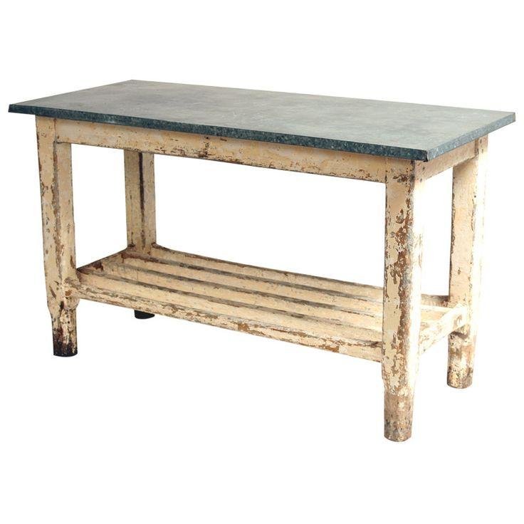 Vintage Galvanized Work Table Kitchen Island Part 63