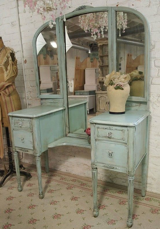 Love the color and the distressed look | My Vintage Furniture Crafts |  Vanity, Furniture, Antique vanity - Love The Color And The Distressed Look My Vintage Furniture Crafts