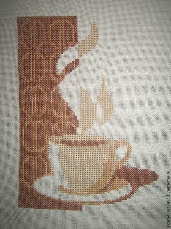 """Купить Вышитая картина """"Кофе"""" - бежевый, кухня, вышивка, Вышивка крестом, Вышитая картина, чашка"""