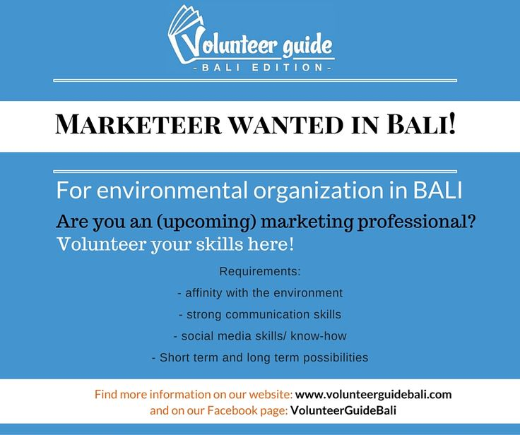 Are you a marketeer? And have a huge passion for saving the environment? then this awesome NGO needs your help! Volunteer in Bali, Indonesia. Find more information on our website: www.volunteerguidebali.com