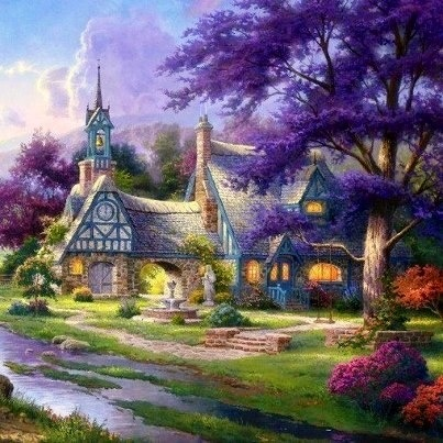 Thomas Kinkade -look at all the purple