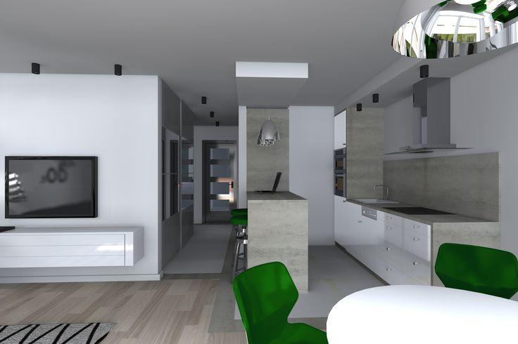 Kompleksowy projekt mieszkania w bloku. Jedna z wersji wykończenia salonu z aneksem kuchennym.