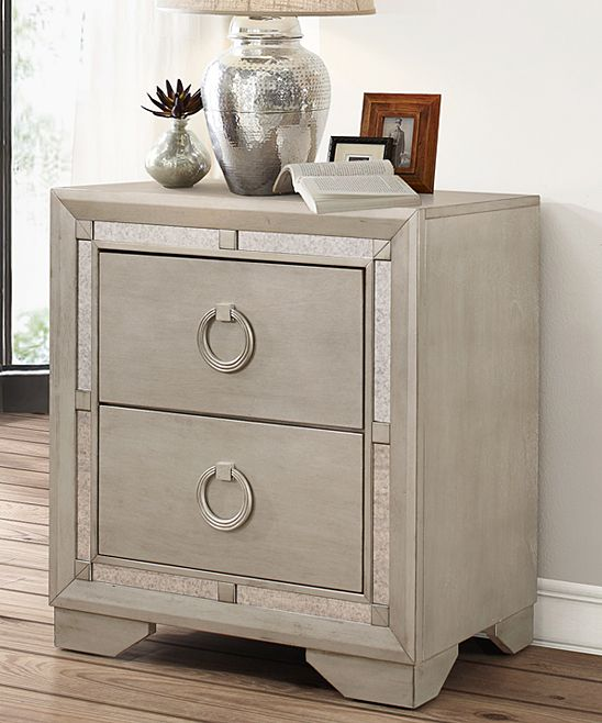 Silver Beaumont Mirrored Two-Drawer Nightstand