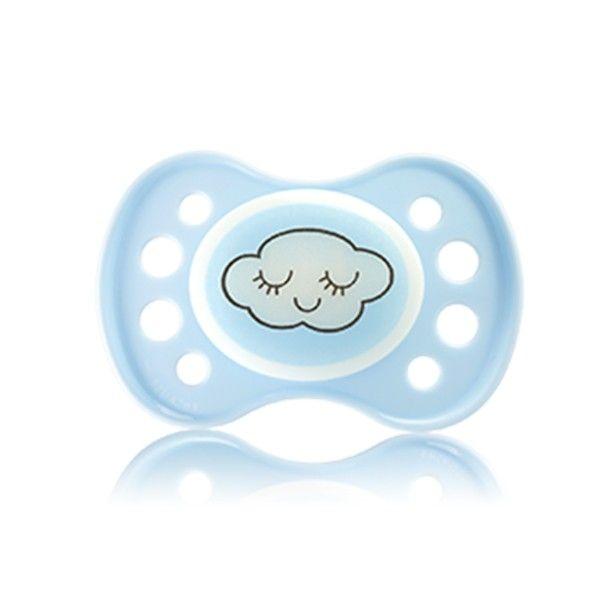 Sucette anatomique nuit avec anneau, téterelle silicone conçue pour les nourrissons de 0 à 6 mois. Téterelle symétrique courte et plate. #dodie #sucette #bebe #santediscount #nuage #cloud #sweetie #blue #baby