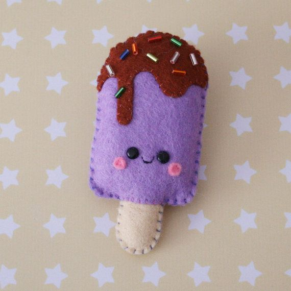 Grape Popsicle Felt Brooch by hannahdoodle on Etsy, $12.00