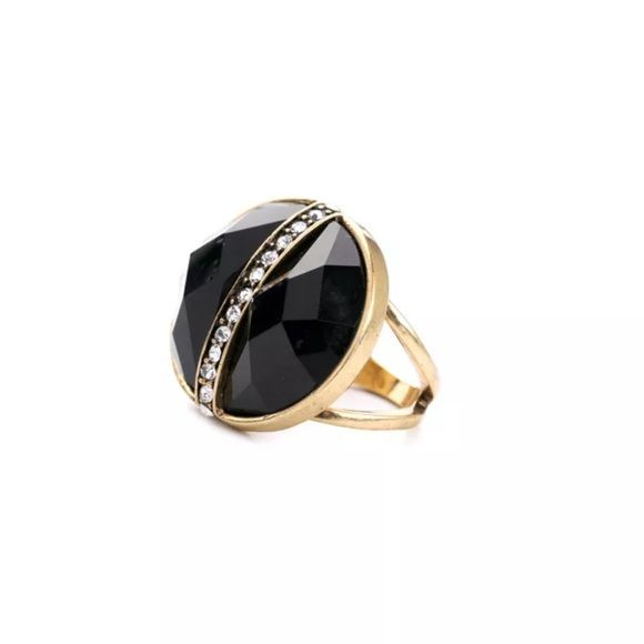 Black Faceted Stone Crystal Cocktail Ring! Antique Gold plating with a Black Faceted Center stone & Sparkling Crystal Pavé! A Beautiful Statement Ring!  • Nickel & Lead Free Plating  - Price Firm unless Bundled - Bundle 2 or more items for 20% Discount! - No Trades - PayPal is now accepted thru Posh! Boutique Jewelry Rings