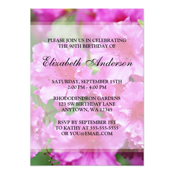 The 1292 best 90th birthday invitations images on pinterest 90th pink rhododendron flowers 90th birthday party invitation filmwisefo