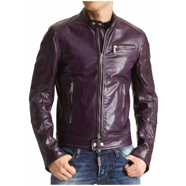 Men's Casual Biker Purple Faux Leather Jacket - UJackets ($139) ❤ liked on Polyvore featuring men's fashion, men's clothing, men's outerwear, men's jackets, mens faux leather biker jacket, mens jackets, mens faux leather moto jacket and mens fake leather jacket