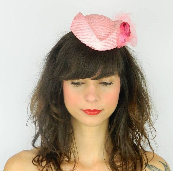 Pillbox Hat Fascinator Headpiece with Kitsch Silk Flowers and Tulle Veil