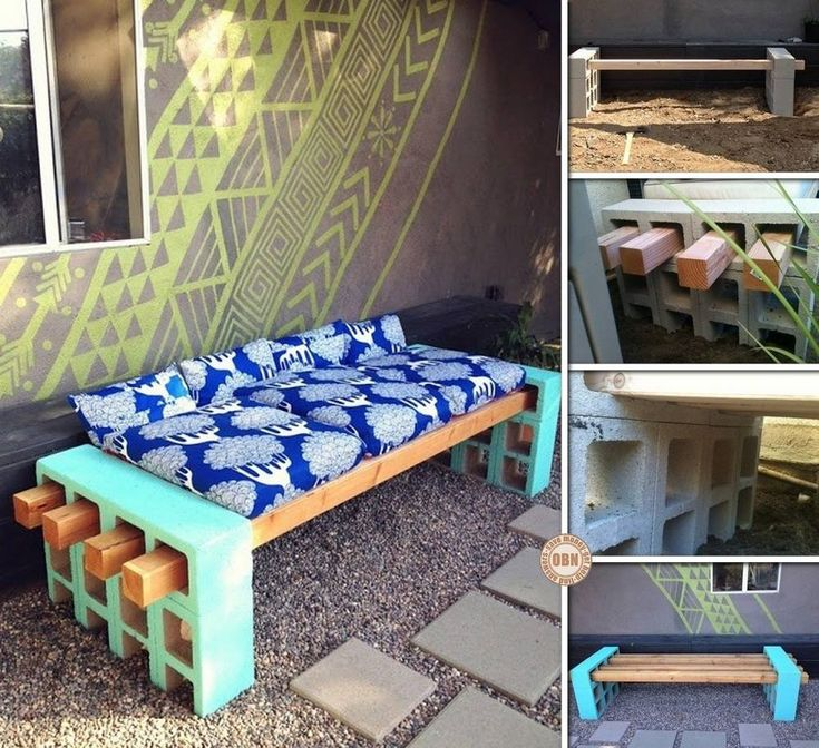 cinder block bench seating | Get the how to for this cinder block bench seat HERE