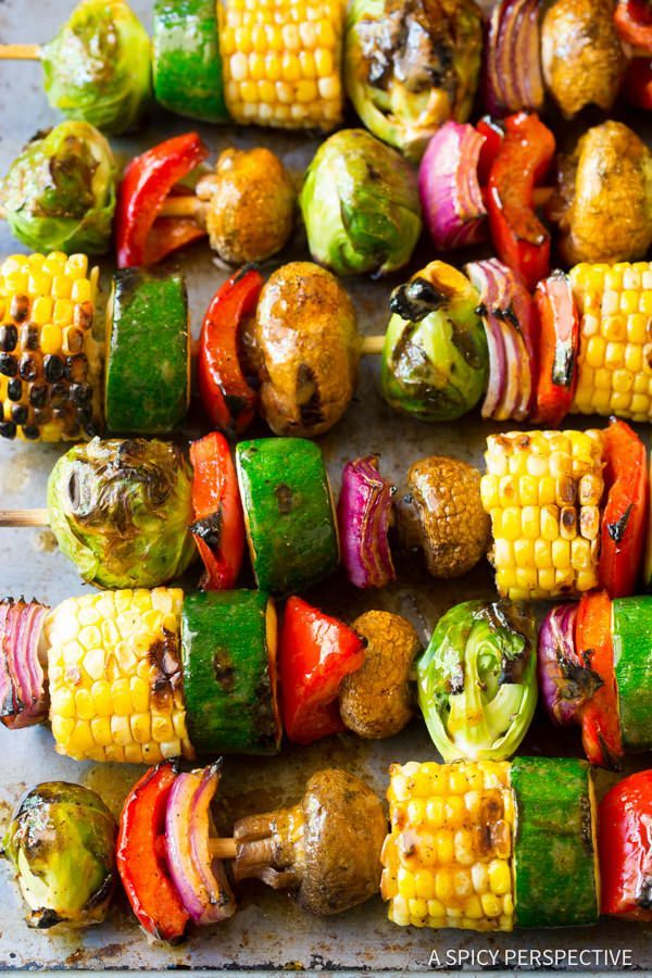 "Grilled Fajita Vegetable Skewers - A healthy vegetarian skewer recipe loaded with fresh summer veggies and ""fajita butter."" A fabulous side dish for picnics"