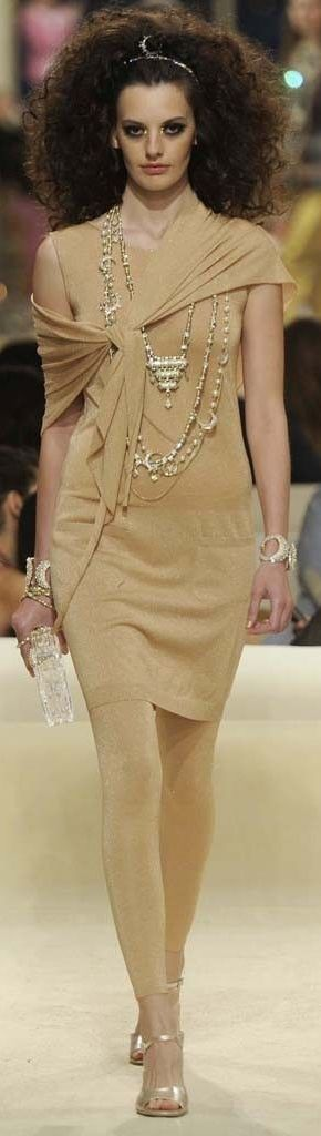 Chanel Resort 2015.  I like the necklace and the casual tie of the sheer scarf.  Patti Montgomery, dressing for my life