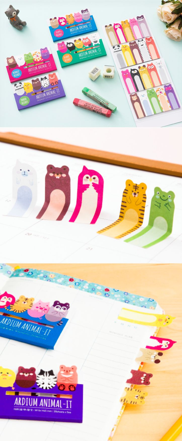 The Ardium Animal Index Sticky Note is a super cute and well made set of index sticky notes! The Ardium Animal Index Sticky Note contains a total of 100 index sticky notes (5 unique animal designs, 20 each) in a purchase. You can use these adorable index sticky notes as a sticky note, as a bookmark, and so much more!
