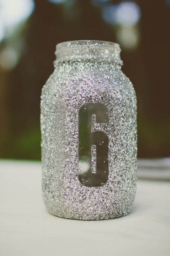 Glitter jar table number table numbers pinterest for Glitter numbers for centerpieces