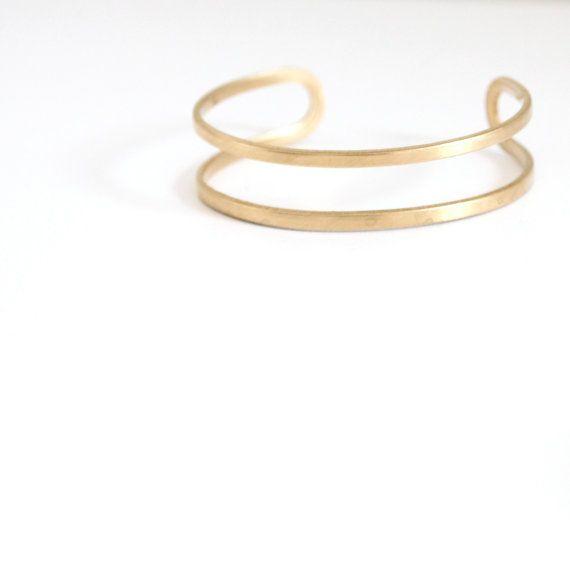 M I I: Double Band Brass Cuff Bracelet. Minimal Bracelet. Modern Bracelet. Layer Bracelet. Arm Party. Simple Gold Bracelet. Layer Bracelet. on Etsy, $16.00
