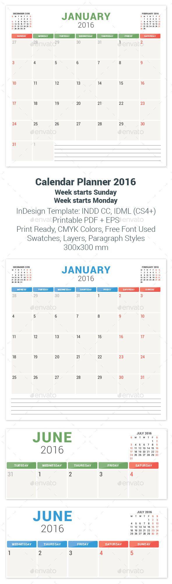 Calendar Planner 2016 Template #design Download…