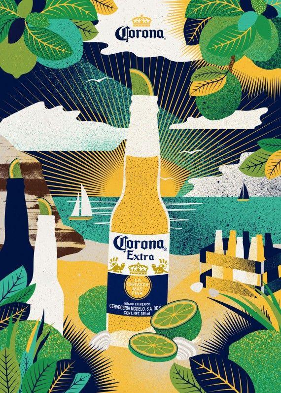Corona Sunset Poster Corona Sunset Sunset Party Illustration