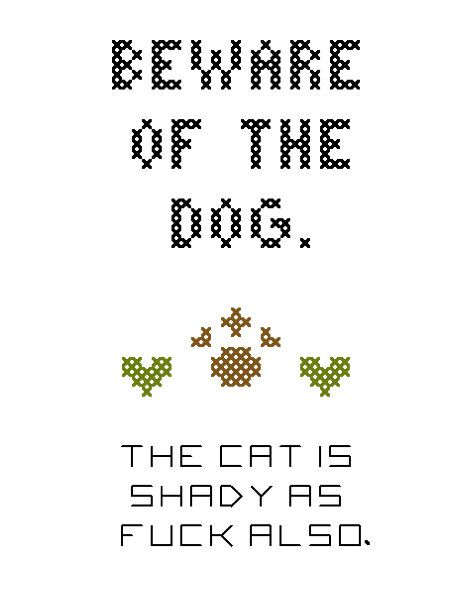 Beware of the Dog MATURE Cross-Stitch Pattern by RebelleCherry