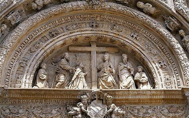 Museo de Santa Cruz. Toledo: carving above entrance with cross