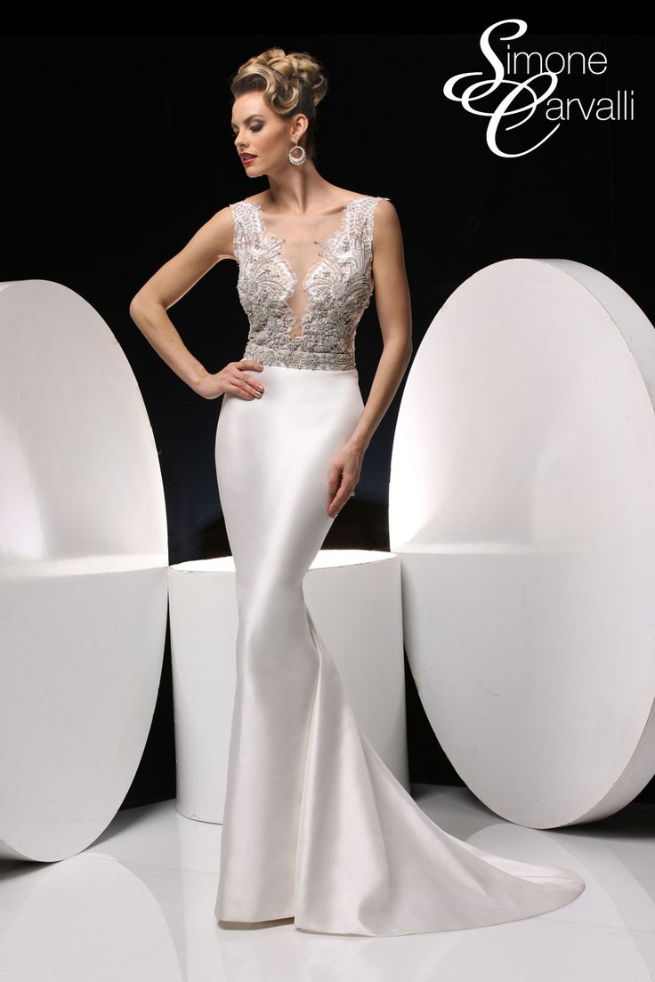 Simone Carvalli 90282 Wedding Dress Intricately Beaded Bodice Has Plunging V Neckline With Tank