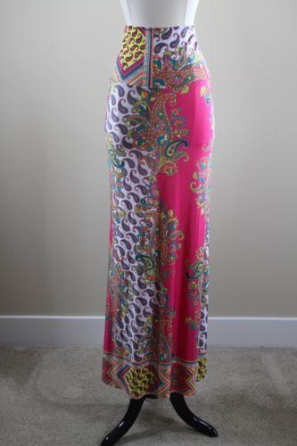 USA-Made-ST05-Womens-Mixed-Hot-Pink-Paisley-Print-Maxi-Skirt-Medium