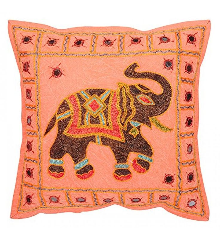 indian embroidery handmade elephant toss pillow throw