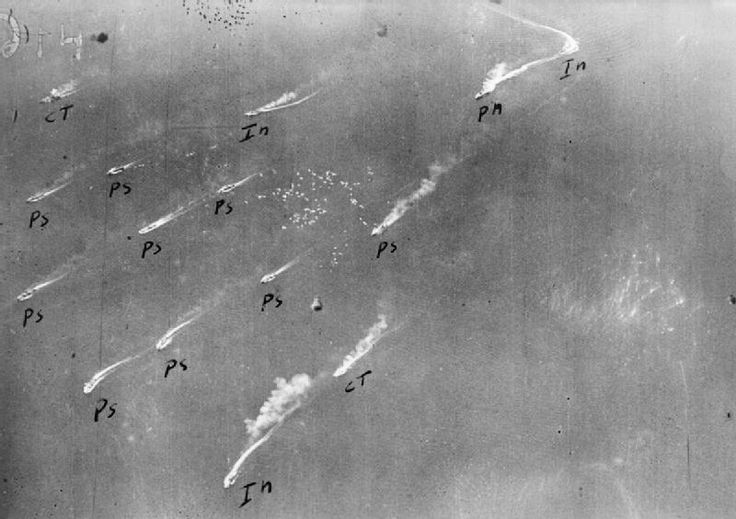 OPERATION PEDESTAL AUGUST 1942. Malta resupply convoy. 12 August: Air attacks: An Italian aerial reconnaissance photograph of the convoy.