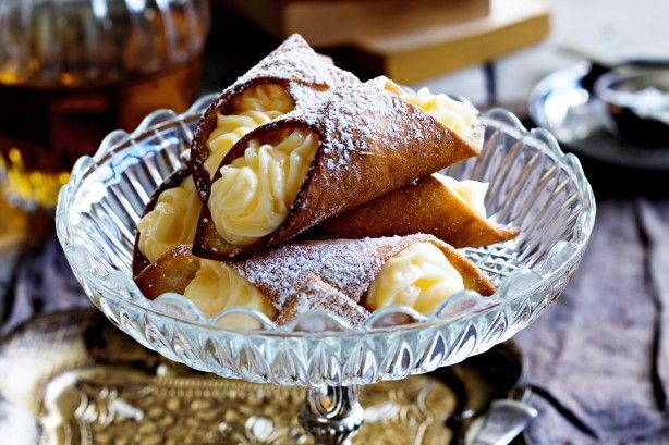 Cannoli with vanilla custard: Fill these Italian pastries with thick, creamy vanilla custard.