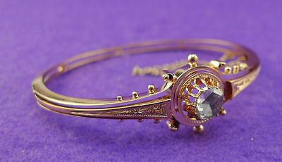Herrlicher original Biedermeier Diamant Armreif in 585 Rosegold