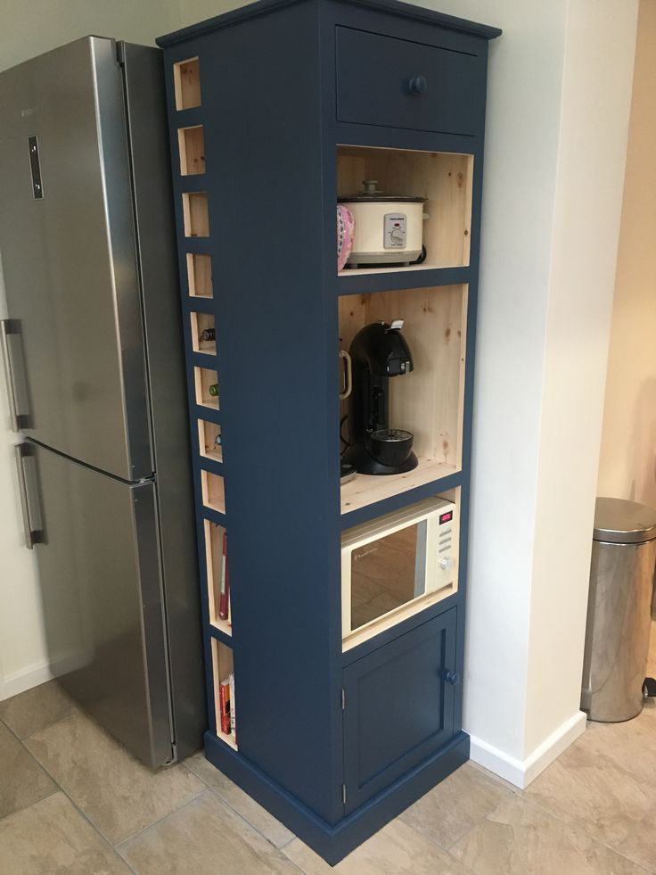 Kitchen cupboards, open, storage for microwave