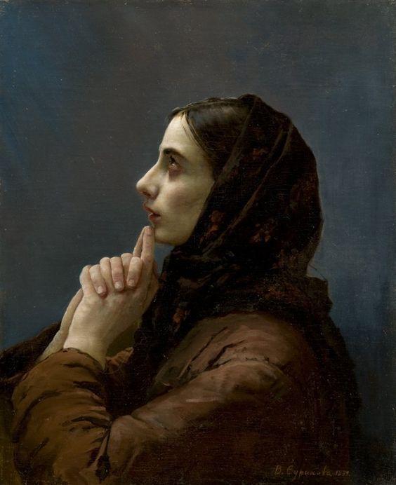Vasily Surikov Young Woman At Prayer 1879