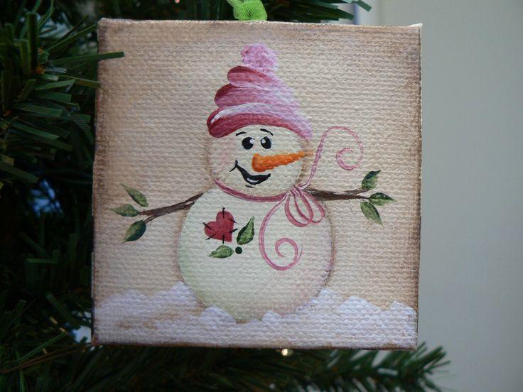 Hand Painted Snowman On Barnwood