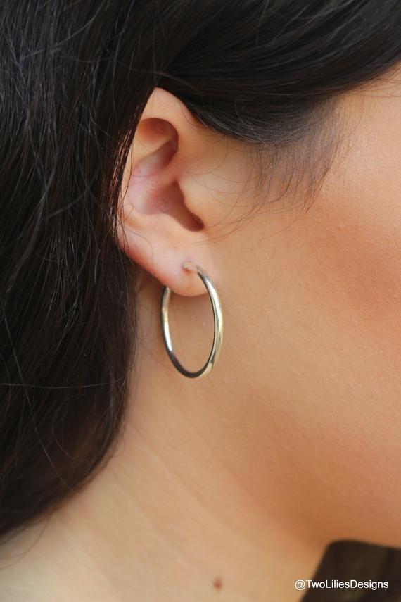 360b78420 Medium hoop earrings, Silver Hoops, Simple Silver earrings, 28mm silver  hoops earrings,