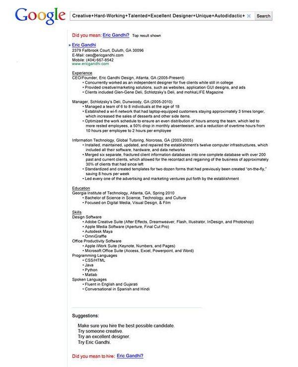 40 best Creative CVs\/resumés images on Pinterest Resume - resume for google job