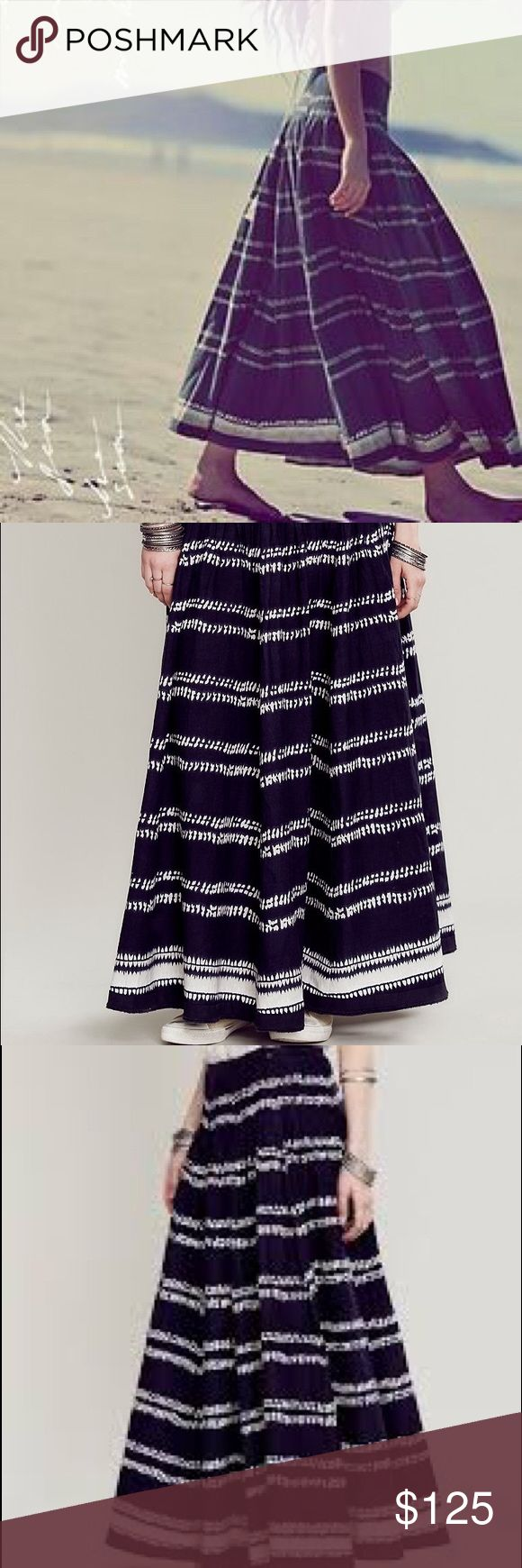 Free People One Bali Striped Maxi Skirt NWOT XS Brand new without tag.  Size 2 fits XS-S.  Sold out everywhere.    Style: 31783103 Color Code:  Pleated, striped cotton maxi skirt. Semi-sheer, with a voluminous silhouette. Zip closure.  *FP One is an exclusive collection made with love from India. Defined by bold embellishments and natural-feeling fabrics, the collection brings a modern twist to old world techniques.  *100% Cotton *Hand Wash Cold *Import Free People Skirts Maxi