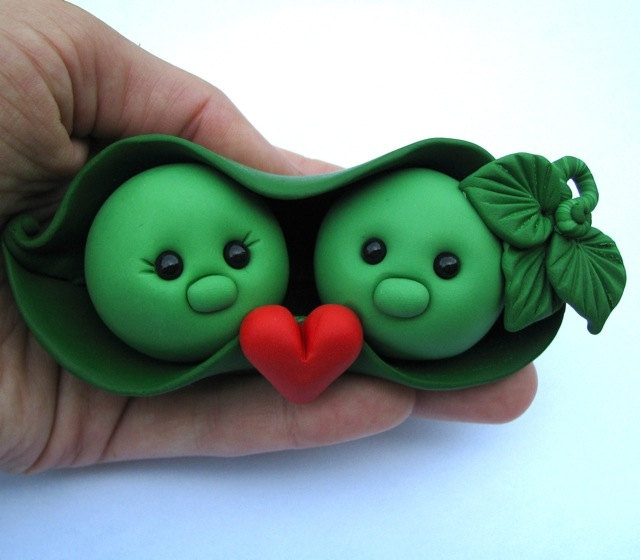 Two Peas in a Pod Wedding Cake Topper