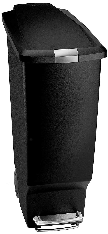 Amazonsmile Simplehuman 50 Liter 13 Gallon Semi Round Kitchen Step Trash Can Black Plastic With Secure Slide Lo Kitchen Trash Cans Plastic Bins Simplehuman