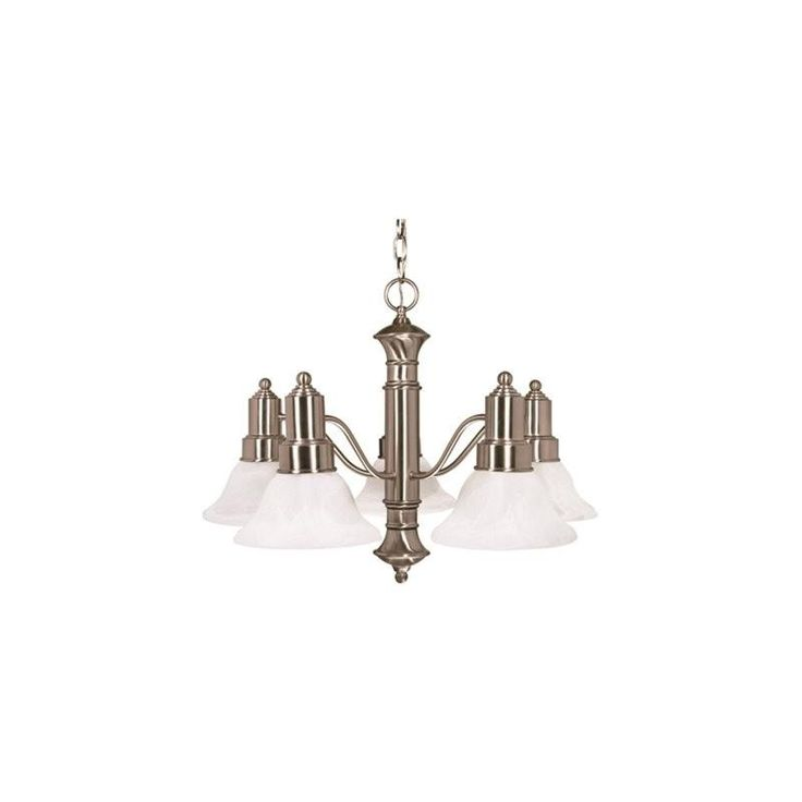 NUVO® GOTHAM TRANSITIONAL CHANDELIER, BUSHED NICKEL