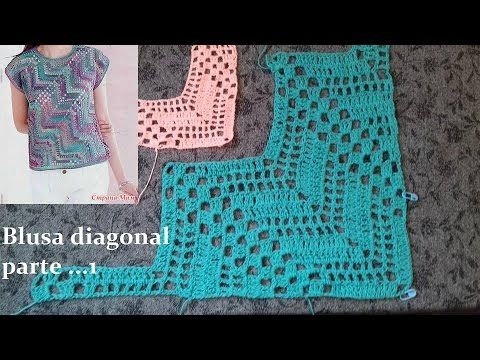 Blusa diagonal en crochet (parte 1) - YouTube
