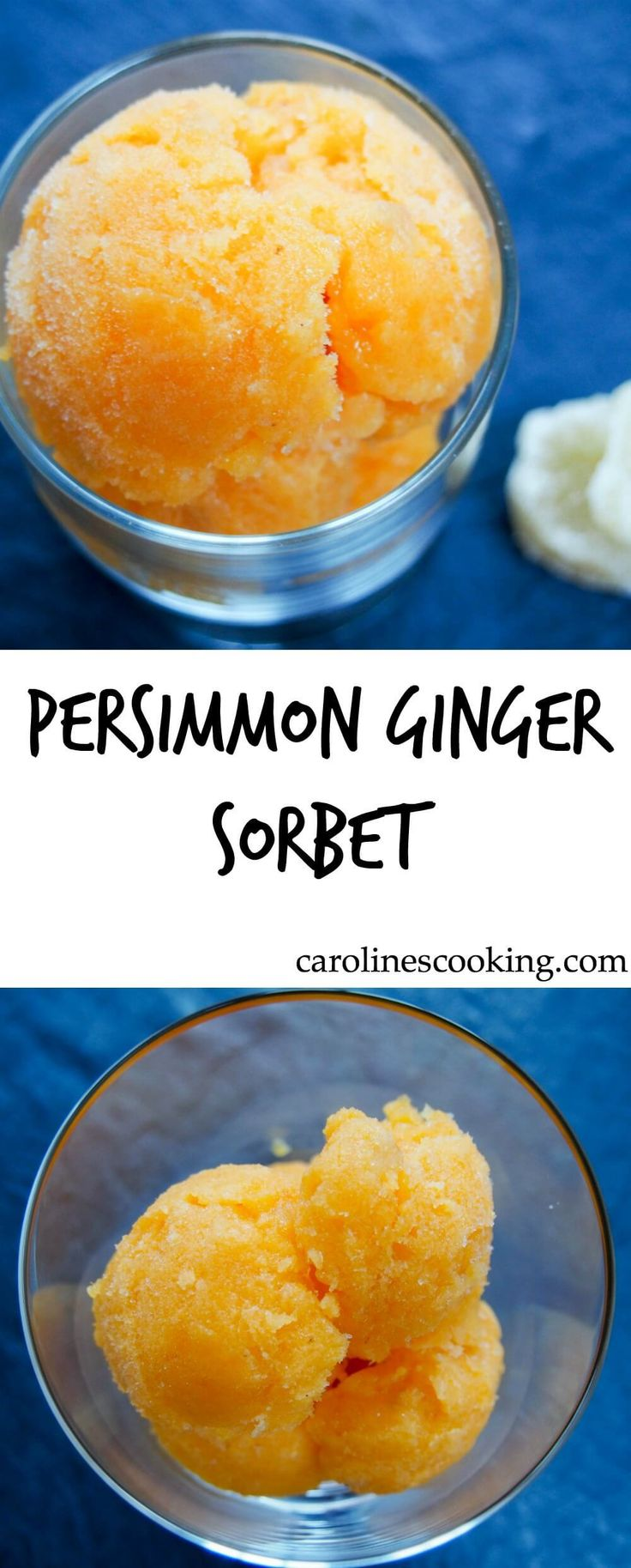 This delicious persimmon ginger sorbet is easy to make and both looks and tastes great, the zingy ginger complimenting the smooth, fragrant persimmon. A tasty frozen treat, great for dessert or as a palette cleanser.