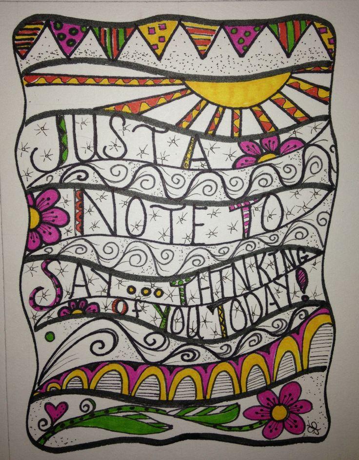 My Zen Tangle/ Doddle art. I love doing this!