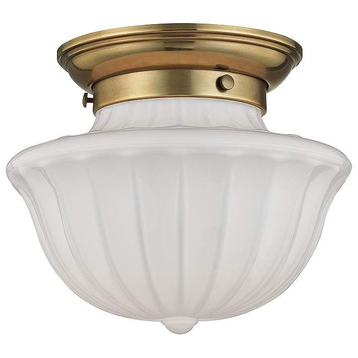 "Hudson Valley Dutchess 9"" Wide Aged Brass Ceiling Light - #9R840 