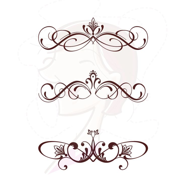Digital flourish clipart swirls vector vintage fleur de