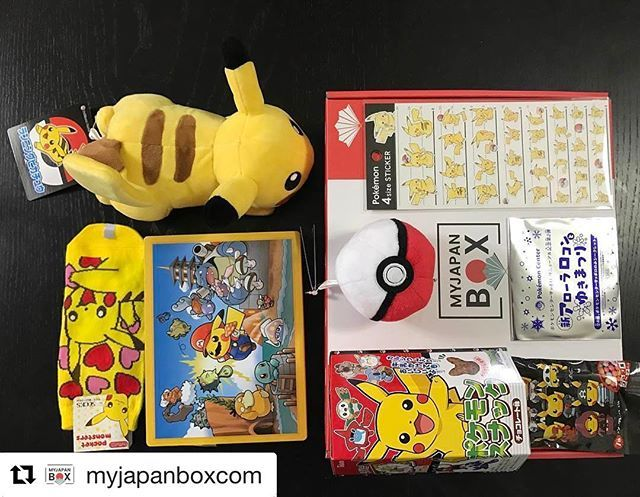 My Pokemon Box by @myjapanboxcom ・・・ Pictures from Marie P. In France who got her Pokemon box 😍😘 #Pokemon #myjapanbox #premiumbox #pokemoncenter #pikachu #pokeball #pokemongo #mario #specialedition #socks #cards #candy #snacks #monthlybox #fromjapan #japan