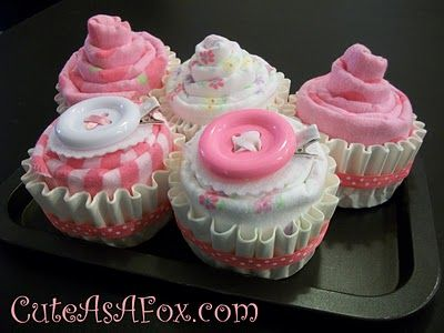 Receiving Blanket Cupcake (in coffee filters) Other variations on the website.: Shower Ideas, Diaper Cake, Showers, Craft, Cupcakes, Gift Ideas, Baby Shower Gifts, Baby Gift, Baby Shower