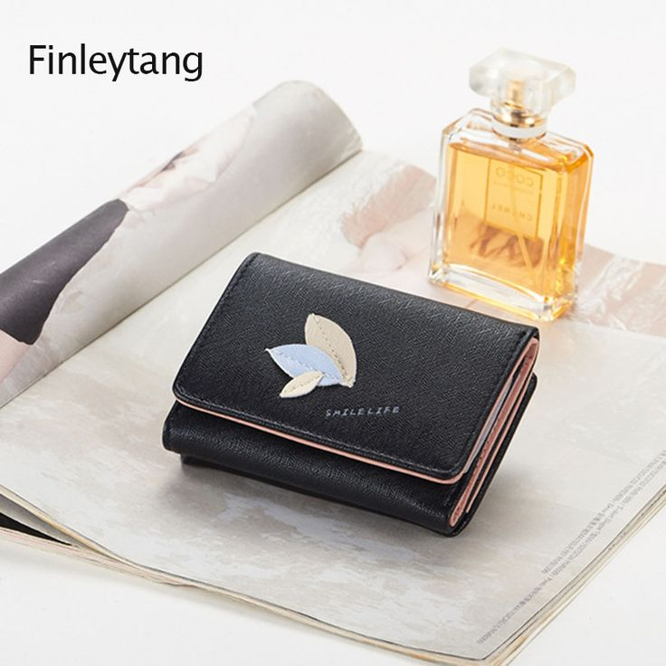 The candy colour fashionable tide of fashionable tide man cartoon leaf element short money the woman purse of big bill of money