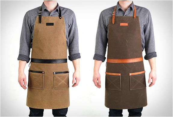 RUGGED MAN APRONS | BY HARDMILL. handcrafted in the US from army duck waxed canvas and hand-dyed leather, this is definitely something every man should have. $235